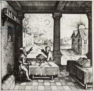 Astrolg vykládající horoskop autor: Robert Fludds